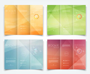 Collection of vector tri-fold brochure design templates with modern geometric background