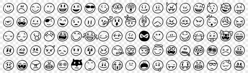 Doodle various emoji set
