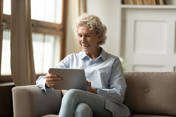 Focused senior woman sitting on couch in modern living room holds tablet device read media news,...