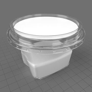 Plastic yogurt box with label
