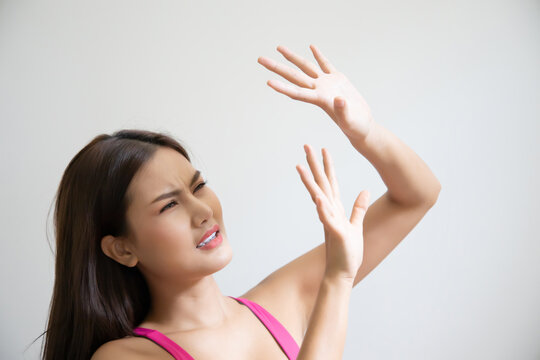 asian woman do not like strong sunshine, skin care concept
