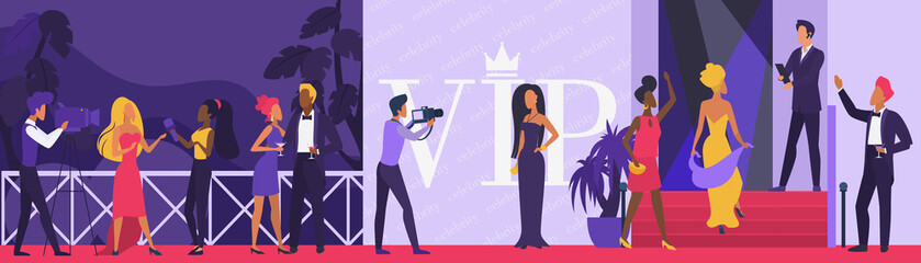 Celebrity vip party vector illustration. Cartoon flat superstar woman man character walking on red carpet, paparazzi taking photo by famous star actor model on celebrity ceremony event background