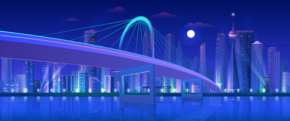 Papiers peints Prune City bridge at night vector illustration. Cartoon flat modern urban neon futuristic skyline, cityscape tower skyscrapers downtown, highway bridge over water. Future waterfront landscape background