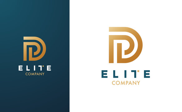 Premium Vector D Logo in two colour variations. Beautiful Logotype for luxury branding. Elegant and stylish design for your Elite company.