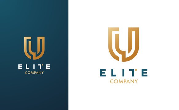 Premium Vector U Logo in two colour variations. Beautiful Logotype for luxury branding. Elegant and stylish design for your Elite company.