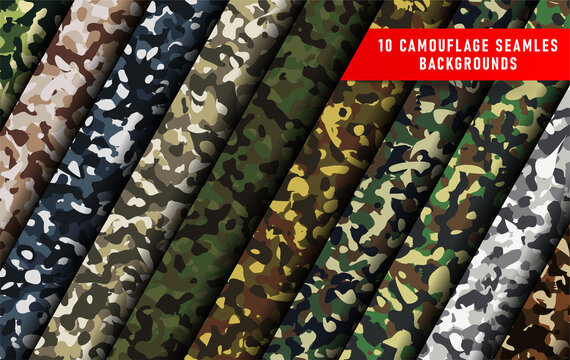 large set of 10 camouflage seamless backgrounds. Seamless woodland pattern. Abstract military or hunting camouflage background. Vector eps10