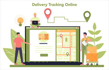 Delivery service online service or platform. Courier in uniform