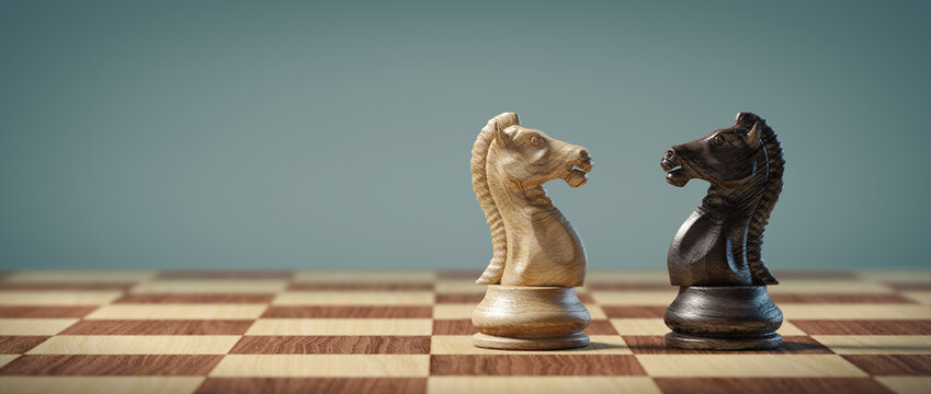 Knights on a chessboard. Business, strategy, conflict and leadership concept.