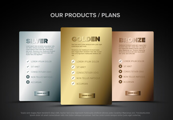 Golden, Silver and Bronze Subscription Plan Layouts