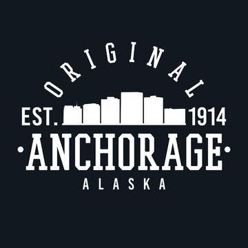 Anchorage Alaska Skyline Original. A Logotype Sports College and University Style. Illustration Design.