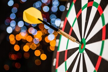 Closeup of a Dart in Bullseye