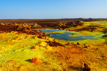 Colorful ponds of Dallol desert, Ethiopia