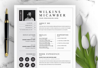 Resume Layout with Dark Gray Sidebar
