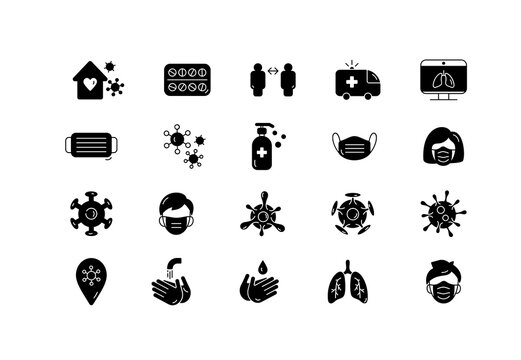 Set of symbols medical icon coronavirus specialization. Face mask, pills, liquid hand soap, medical gloves, medicine bottle design element. Medical pharmacy concept made in fill style vector logo