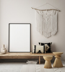 Papiers peints Pain mock up poster frame in modern interior background, living room, Scandinavian style, 3D render, 3D illustration