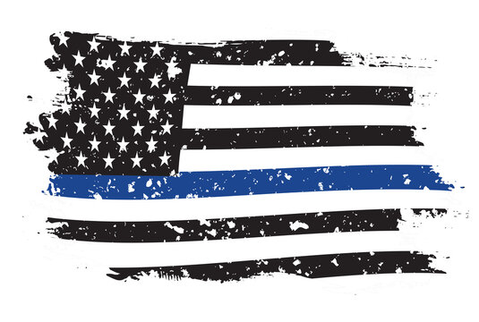 An American flag symbolic of support for law enforcement,grunge usa flag vector.