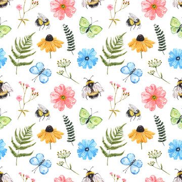 Watercolor cute wildflowers seamless pattern. Summer flowers, grass, herbs, butterflies, honey bees on white background. Colourful botanical print for textile, nursery design.