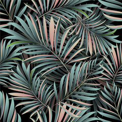 Obraz Palm leaves. Tropical seamless background pattern. Graphic design with amazing palm trees suitable for fabrics, packaging, covers - fototapety do salonu