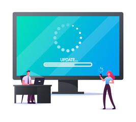 Update Software Application and Hardware Upgrade Technology Concept. Tiny Characters with Gadgets at Huge Computer Screen with Updating Scale. People Using Smart Devices. Cartoon Vector Illustration