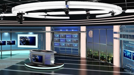 Virtual TV Studio News Set 27-5. 3d Rendering. Virtual set studio for chroma footage. wherever you want it, With a simple setup, a few square feet of space, and Virtual Set, you can transform any loca