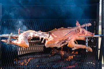 spit roast little pig