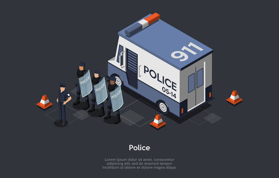 Concept Of Protection Of Population, Authoritarian, Totalitarian Regimes. Counter-Terrorist Police Squad Special Forces Unit Near Police Car Ready To Protect Order. Isometric 3D Vector Illustration