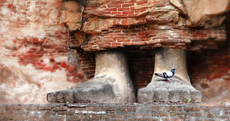 Sri Lanka travel and landmarks - ancient city of Polonnaruwa, UNESCO World Heritage Site. huge feets of Buddha statue carved in the rock, Lankatilaka Vihara temple