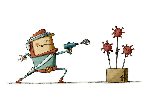 boy dressed as superhero plays shooting with a strange weapon at a virus that he has made. isolated