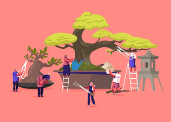 Bonsai Growing Concept. Tiny Male and Female Characters Enjoying Hobby Caring, Pruning and Trimming Bonsai Trees. Plants Gardening, Traditional Asian Art, Culture. Cartoon People Vector Illustration