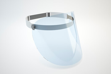 Plastic shield for face, covid 19 - 3d illustration