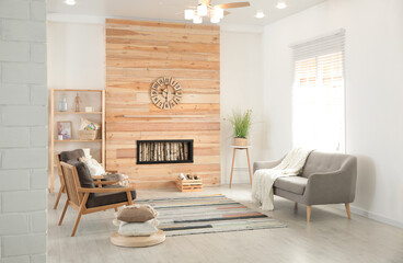Modern living room interior with stylish furniture