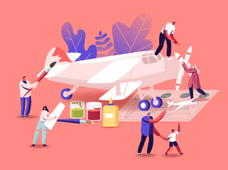Aircraft Modeling Concept. Tiny Male and Female Characters Assembling and Painting Huge Airplane Model, Put Propeller Using Scheme, Father and Son Creative Hobby. Cartoon People Vector Illustration