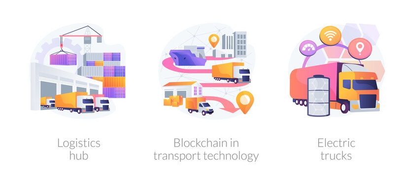 Global logistics center abstract concept vector illustration set. Logistics hub, blockchain in transport technology, electric trucks, commercial warehouse, automated freight track abstract metaphor.