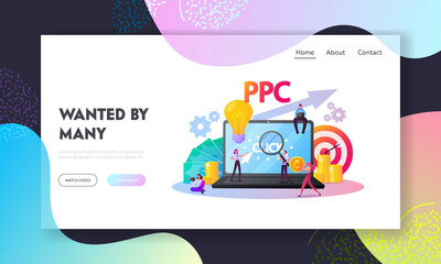 Pay Per Click Landing Page Template.Tiny Characters at Huge Computer with Cursor Clicking on Ad Button. Ppc Business, Cpc Advertising Technology, Sponsored Listing. Cartoon People Vector Illustration