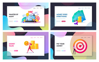 Pay Per Click Landing Page Template Set. Tiny Characters at Huge Computer with Cursor Clicking on Ad Button. Ppc Business, Advertising Technology, Sponsored Listing. Cartoon People Vector Illustration