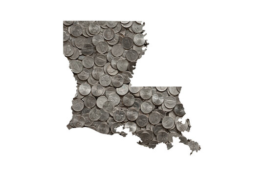 Louisiana State Map Outline and Piles of Nickels, Money Concept