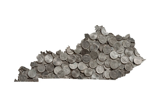 Kentucky State Map Outline and Piles of Nickels, Money Concept