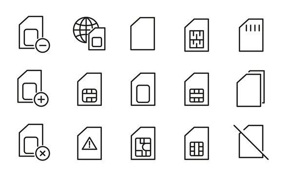Stroke line icons set of sim card.
