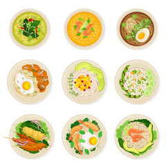 Thai Dishes and Main Courses with Noodle Soup and Rice Top View Vector Set
