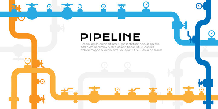 Pipelines textured background with copy space. Industrial vector banner with pipes and equipment.