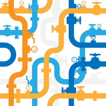 Pipelines textured seamless background. Industrial vector pattern with pipes and equipment.