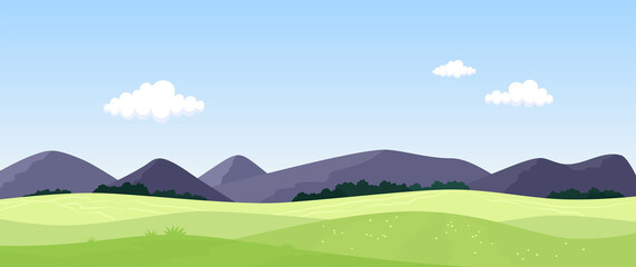 Green meadows and mountains. Summer landscape. Vector illustration.