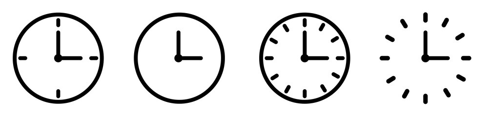 Fototapeta Vector Time and Clock icons set.Clocks icon collection design. Horizontal set of analog clock icon symbol .Circle arrow icon.Vector illustration.