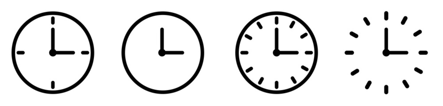 Vector Time and Clock icons set.Clocks icon collection design. Horizontal set of analog clock icon symbol .Circle arrow icon.Vector illustration.