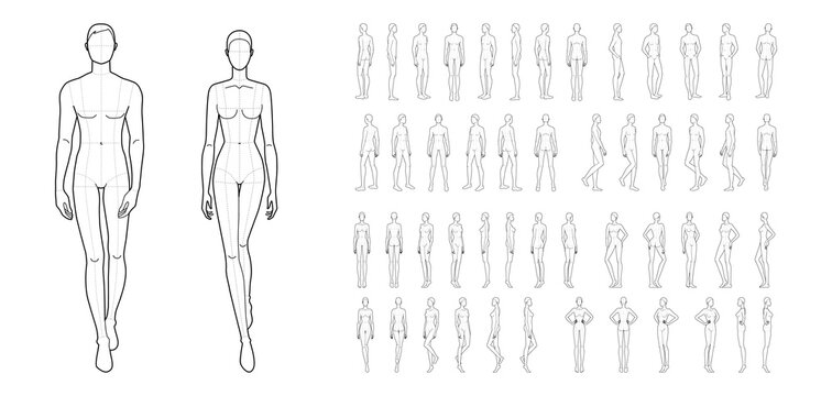 Fashion template of 50 men and women.