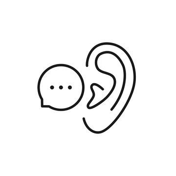 black linear bubble with ear like whisper