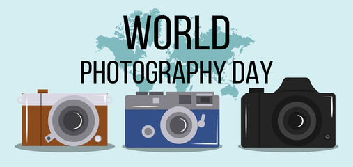 Acrylic Prints Retro sign World photography day illustration. Simple vector of Photography day background set for UI and UX, website or mobile application on colorful background