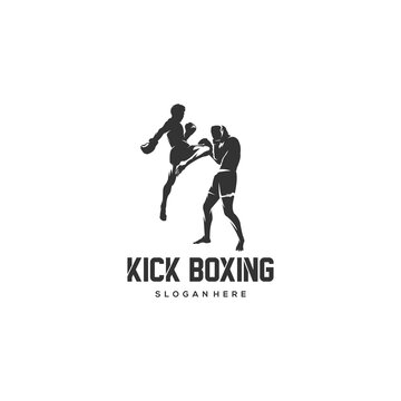 kick boxing silhouette logo vector