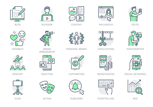 Blogger line icons. Vector illustration included icon as blog monetization, video editing, personal brand, copywriting outline pictogram of social media content. Green color, Editable Stroke