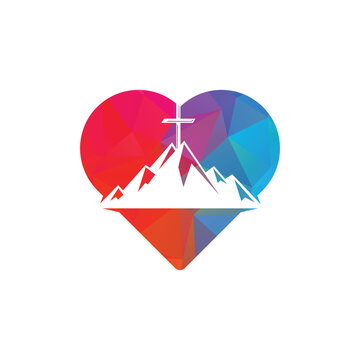 Baptist cross in mountain logo design. Cross on top of the mountain and heart shape logo. Church and Christian organization logo. God Christian Love conceptual logo design